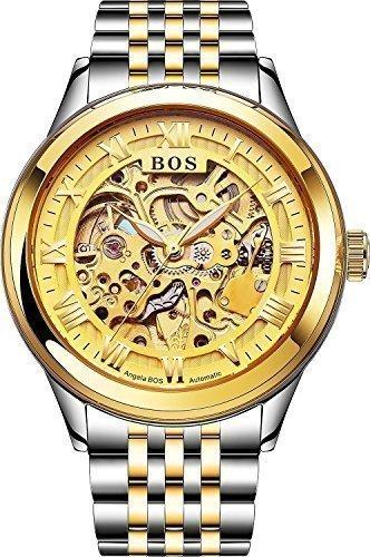 Angela Bos - Reloj automático mecánico de pulsera para hombre, esfera dorada, correa de acero inoxidable dorada, diseño con engranajes a la vista