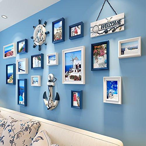 Mediterrane dekorativen Wandmalereien im Wohnzimmer Poster Wandbilder auf das Restaurant lackiertDassGesamtabmessungen197 * 95 cm, 18.Dicke PlatteDassWeiß Blau Kombination