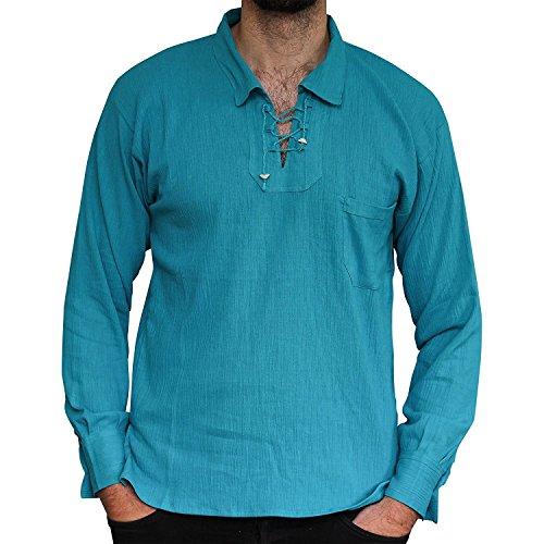 Pxmoda Herren Lace up Tunika V-Ausschnitt Weiß Strand Shirt Casual Hippie Shirt (Blau, XX-Large)