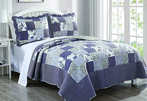 Dada Bedding Reversible Patchwork Plaid Floral Blueberry Patch Bedspread Quilt Set, Navy Blue, King, 3-Pieces by DaDa Bedding Collection