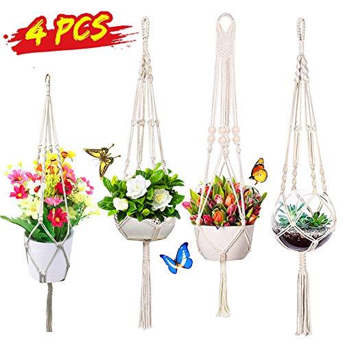 Qfun 4er Set Makramee Blumenampel,Blumenampel Innen,Blumenampeln zum Aufhängen Baumwollseil Hängeampel Blumentopf Pflanzen Halter für Außen Blumentopfhänger Decken Balkone Wanddekoration 105cm