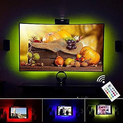 VILSOM USB Powered LED Bias-Beleuchtung für TV-Bildschirm und PC-Monitor, RGB ändern Farbstreifen -Kit (40