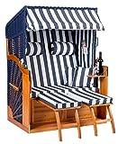 Strandkorb Binz XL  blau -montiert- als Ostsee Strandkorb sofort nutzbar schön für Ihr zu Hause