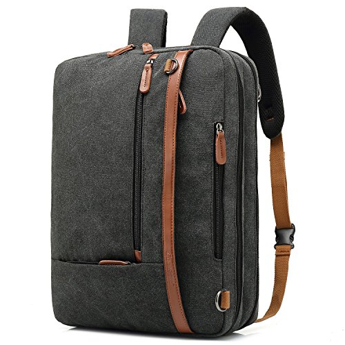 CoolBell umwandelbar Aktentasche Rucksack Messenger Bag 15,6 Zoll Laptoptasche Herren Business Umhängetasche Mehrzweck Arbeitastasche Reisen Backpack Notebook Schultertasche(Canvas Schwarz)