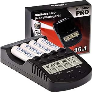Kraftmax BC-4000 Pro Akku Ladegerät mit LCD-Display und Mikroprozessor / Hochleistungs- Schnellladegerät für Akkus der neuesten Generation optimiert (z.B. für Eneloop Akku Batterien) schwarz