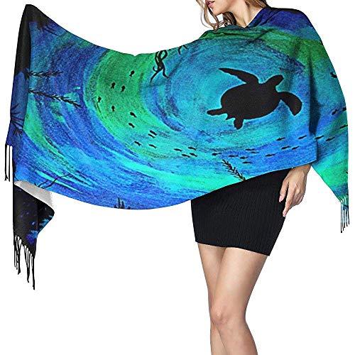 Bufanda de tortuga marina que brilla en la oscuridad oscura para mujer Bufanda...