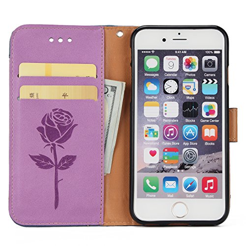 Cover Pelle per iPhone 6S Plus,Fiore Portafoglio Bookstyle Custodia per iPhone 6 Plus,Leeook Creativo Novità Colore Cucito Retrò Goffratura Rosa Fiore Amante Citazione Design Modello Snap-on Cinturino Stitching Color Purple
