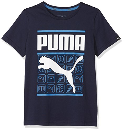 Puma Kinder Style Graphic Tee Shirt, Peacoat, 176