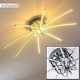 Sternförmige Deckenlampe – Leuchte mit 8 auseinanderlaufenden Lichtleisten im Design einer stilisierten Sonne – LED-Lichter fest installiert – angenehme warmweiße Lichtfarbe – Designerlampe für das Wohnzimmer