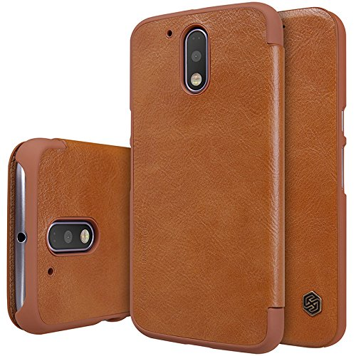 Nillkin QIN Series Luxury Royal Leather Bumper Flip Case Cover Wallet for Motorola MOTO G4 Plus(4th Generation) - BROWN