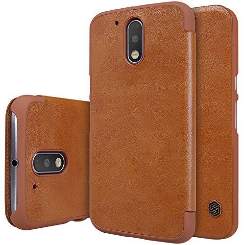Nillkin QIN Series Luxury Royal Leather Bumper Flip Case Cover Wallet for Motorola MOTO G4 Plus(4th Generation) - BROWN