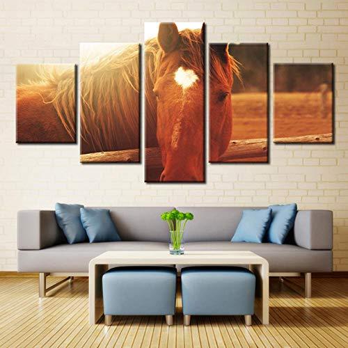 ZZHPlanet Wanddekoration Moderne Leinwand Home Art Wand HD Bild 5 Panel Thema Pferd Pfirsich Herz Liebe Sonnenschein Grasland Drucke Wohnzimmer Dekoration -