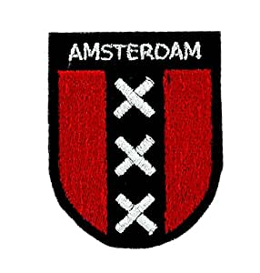 Patch ecusson brode backpack drapeau blason amsterdam thermocollant souvenir