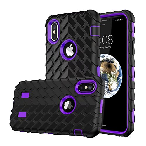 iPhone X Hülle, Lantier Dual Layer Armor Soft Rubber Hard Hybrid Tire Stripe Combo High Impact Heavy Duty Silicone Bumper Shockproof Defender Case Cover für Apple iPhone X Lila
