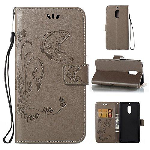 EKINHUI Case Cover Horizontale Folio Flip Stand Muster PU Leder Geldbörse Tasche Tasche mit geprägten Blumen & Lanyard & Card Slots für Nokia 6 (N6) ( Color : Coffee ) Gray