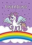 Einhorn 8 Einladungskarten zum Kindergeburtstag lila Einhorn / Pferd / Unicorn / Märchen-Party / schöne und bunte Einladungen für Mädchen (8 Karten)