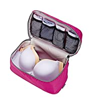 Packing Organizer Underwear Bag for Bras,Knickers,Lingerie Travel Bra Organizer Bag(Rosy)
