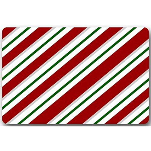 Candy Canes Stripes Holiday Machine Clean Top Fabric & Non-Slip Rubber Backing Durable Indoor/Outdoor Doormat Door Mats ()