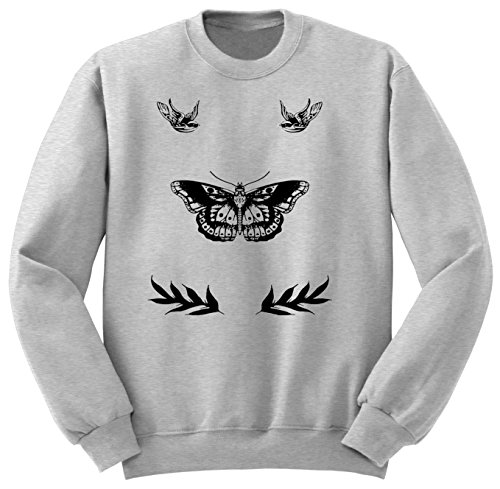 Harry Styles Tattoo / One Direction Clothing / Sweatshirt / Felpa / SW103 (L, Grigio)