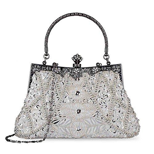 Damen Vintage Style Handtasche Perlen Pailletten Abendtasche Hochzeit Handtasche Clutch Geldbörse Silber
