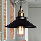 Sundautumn E27 Métal Retro Suspensions Luminaires Vintage Lustre Edison de Culot E27 Abat-jour Suspensions Eclairage de Plafond Noire