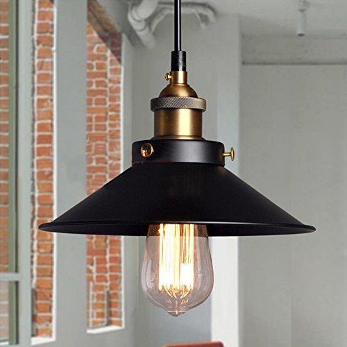 Pantalla Metal de Lámpara de Techo Estilo Industrial Disponible Bombilla E27 Forma de Falda Elegante Negro