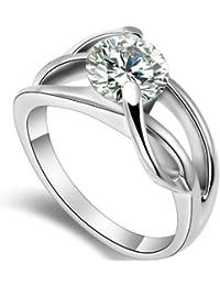 JewelryWe Acero inoxidable anillo de 2,0 Ct forma zirconia cúbico de Joyas dama del Infinito de Promesa / eternidad / compromiso / boda