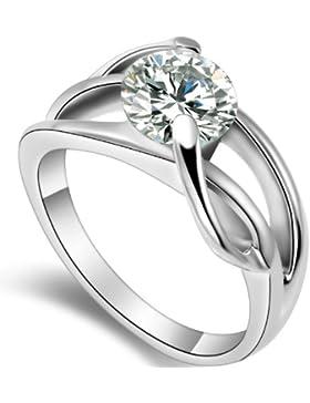 JewelryWe Schmuck Damen 2,0 Ct Zirkonia Ring Band für Versprechen Ewigkeit Verlobung Hochzeitsband Ringe Größe...