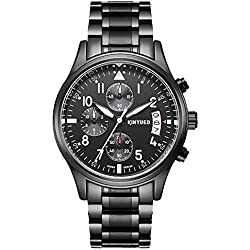 Amstt Men's Stainless Steel Quartz Wrist Watch Boy Unisex Chronograph Black Watch Maths Simulation Calendar Date Digital Display Sports Watch