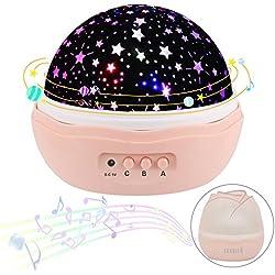 Luci notturne per bambini piccolo con musica Sunvito lampada romantica rotante a forma di rosa funzionante con USB e batteria ricaricabile Rappresenta a rotazione il cielo, le stelle la luna Luce per bambini Regalo di natale per camera da letto (rosa)
