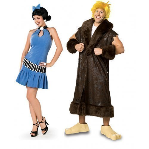& Damen Kostüm Betty und Barney's Schutt The Flintstones Prähistorisch Verkleidung Outfit - Mehrfarbig, Ladies UK 12-14 & Mens STD (Barney Kostüme Für Erwachsene)
