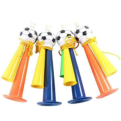 Trixes große Bunte Laute Fußball Tröte aus Plastik Sound Horn EM WM Prop NEUHEIT