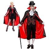 WIDMANN 3586F - Dracula Mantel, rot / schwarz, ca. 135 cm