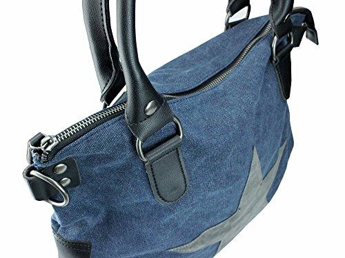 bag2basics Canvas Stampa con stella | Borsa a tracolla shopper Ibiza II diverse Colori Jeansblau/PU Venta Barata De Moda Comprar Precios Baratos XiKYwX4E