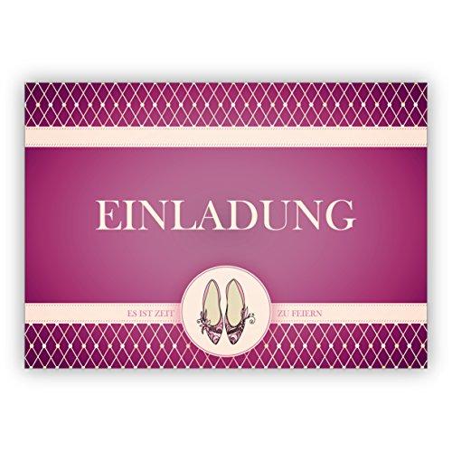 Schicke Party Einladungskarte mit Cinderella Party Tanz Schuhen in lila: Einladung es ist Zeit zu feiern (Cinderella-geburtstag Einladungen)