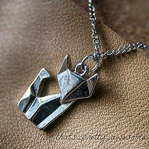 pretty_awesome Kette Fuchs Fox Statementkette Origami Geometrie Statement Blogger, Farbe: Silber, mit Schmuckbeutel