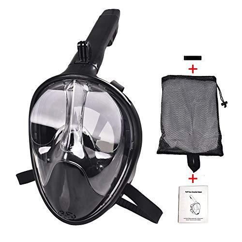 Masque de plongée intégral, masque de plongée Vue panoramique à 180 ° Masque de plongée respirant, anti-buée, anti-fuites, avec support pour caméra détachable pour adultes et enfants,Black,L/XL
