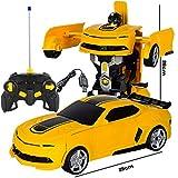 Ldwxxx Bumblebee Rambo Voiture télécommandée en 1 clic Déformation Télécommande Robot de déformation Robot King Kong Geste Induction Déformation Voiture Jouet (Color : Yellow)