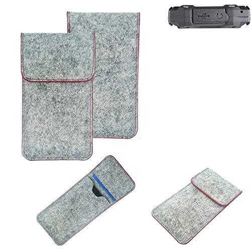 K-S-Trade® Filz Schutz Hülle Für Simvalley Mobile SPT-210 Schutzhülle Filztasche Pouch Tasche Case Sleeve Handyhülle Filzhülle Hellgrau Roter Rand