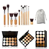 The Best Kingdom 15 Farbe Makeup Concealer Palette +11stk Profi Pinsel Set Contour Kosmetik DE