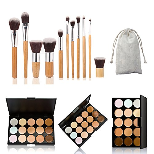 Pinsel-palette (The Best Kingdom 15 Farbe Makeup Concealer Palette +11stk Profi Pinsel Set Contour Kosmetik DE)