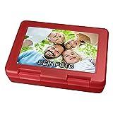 PhotoFancy® - Brotdose mit Foto bedrucken - Brotbox zum personalisieren - Lunchbox mit eigenem Motiv selbst gestalten (Rot)