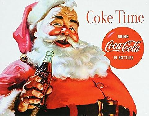 Santa Time Coca-Cola Tin Sign