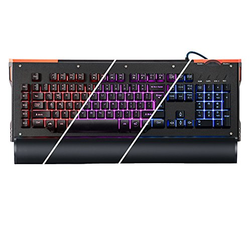 Price comparison product image gCrusader USB Half Mechanical Gaming Keyboard Multi-color LED Illuminated Macro Enabled Rotary Dial (Black) (US Layout)