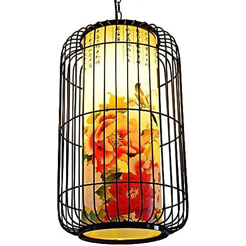 MSUXT Iluminación colgante Lámparas antiguas lámparas de hierro chino idílico Dormitorio Retro vitela viven en jaula Restaurante luz