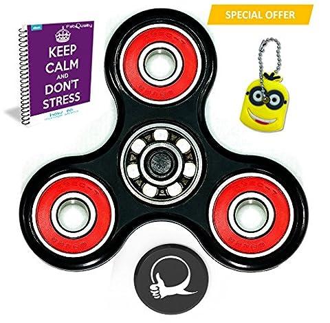 FabQuality Spin anti-stress avec pochette + eBook inclus (Anglais envoyé par eMail) + Minion Cadeaux porte-clés - Diminue le stress et l'anxiété - idéal pour se relaxer et se concentrer (pour enfants et