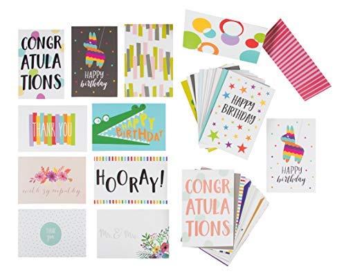 sortiert alle Gelegenheit Grußkarten-Beinhaltet Happy Birthday, Congratulations, Thank You Sortiment Designs-Bulk Box Set VARIETY PACK mit Umschläge enthalten 48-Pack
