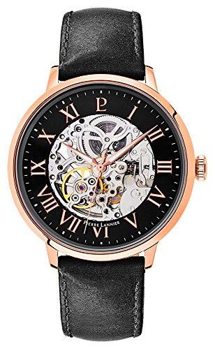 Pierre Lannier–323b433: Orologio da uomo metallo dorato & Pelle–movimento automatico–Quadrante nero