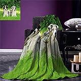 Dodom Hundedecke/Überwurfdecke für Welpen, Welpen, Familie im Garten, australische Schäferhunde und eine Katze, warme Mikrofaser, warm, 120cm*150cm
