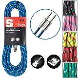 Stagg SGC6VT BL - Cable para guitarra (macho, acodado, 6 m, tweed azul), Derecho - Est�ndar